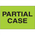 """""""Partial Case"""" (Fluorescent Green) Shipping and Handling Labels"""