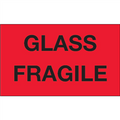 """""""Glass - Fragile"""" (Fluorescent Red) Shipping and Handling Labels"""