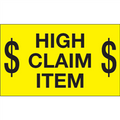 """$ High Claim Item $"" (Fluorescent Yellow) Shipping and Handling  Labels"
