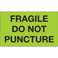 """""""Fragile - Do Not Puncture""""  (Fluorescent Green) Shipping and Handling Labels"""