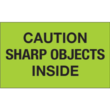 """""""Caution Sharp Objects Inside""""  (Fluorescent Green) Shipping and Handling Labels"""