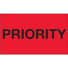 """""""Priority"""" (Fluorescent Red) Shipping and Handling Labels"""
