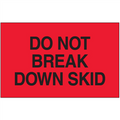 """""""Do Not Break Down Skid""""  (Fluorescent Red) Shipping and Handling Labels"""