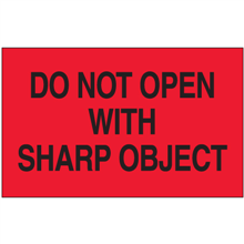 """""""Do Not Open with Sharp Object""""  (Fluorescent Red) Shipping and Handling Labels"""