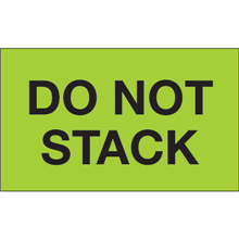 """""""Do Not Stack"""" (Fluorescent Green) Shipping and Handling Labels"""