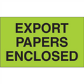 """Export Papers Enclosed""  (Fluorescent Green) Shipping and Handling Labels"