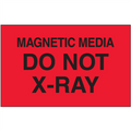 """Magnetic Media Do Not X-Ray""  (Fluorescent Red) Shipping and Handling  Labels"