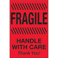 """4"""" x 6"""" - """"Fragile - Handle With Care""""  (Fluorescent Red) Labels"""