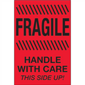 """""""Fragile - Handle With Care - This Side Up"""" (Fluorescent Red) Shipping and Handling Labels"""