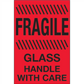 """Fragile - Glass - Handle With Care""  (Fluorescent Red) Shipping and Handling Labels"