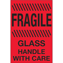 """""""Fragile - Glass - Handle With Care""""  (Fluorescent Red) Shipping and Handling Labels"""