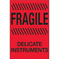 """Fragile - Delicate Instruments""  (Fluorescent Red) Shipping and Handling Labels"
