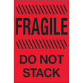 """Fragile - Do Not Stack"" (Fluorescent Red) Shipping and Handling Labels"