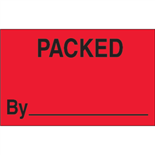 """""""Packed By"""" (Fluorescent Red) Production Labels"""