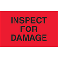 """""""Inspect For Damage""""  (Fluorescent Red) Production Labels"""