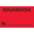 """1 1/4"""" x 2"""" - """"Repair/Rework By""""  (Fluorescent Red) Labels"""