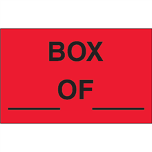 """""""Box ___ Of ___"""" (Fluorescent Red) Production Labels"""