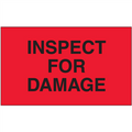 """Inspect For Damage"" (Fluorescent Red) Production Labels"