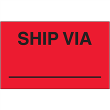 """Ship Via"" (Fluorescent Red) Production Labels"