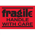 """Fragile - Handle With Care""  (Fluorescent Red) Shipping Labels"