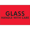 """Glass - Handle With Care""  (Fluorescent Red) Shipping Labels"