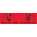 """""""This End Up - Handle With Care""""  (Fluorescent Red) Pallet Corner Labels"""