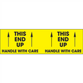 """This End Up - Handle With Care""  (Fluorescent Yellow) Pallet Corner Labels"