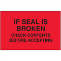 """Check Contents Before Accepting""  (Fluorescent Red) Pallet Protection Labels"
