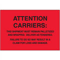 """Must Remain Palletized"" (Fluorescent Red) Pallet Protection Labels"