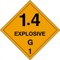 """1.4 - Explosive - G 1"" D.O.T. Hazard Labels"