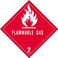 """""""Flammable Gas - 2"""" D.O.T. Hazard Labels"""