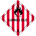 """""""Flammable Solid - 4"""" D.O.T. Hazard Labels"""