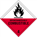 """""""Spontaneously Combustible - 4"""" D.O.T. Hazard Labels"""