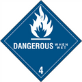 """Dangerous When Wet - 4"" D.O.T. Hazard Labels"