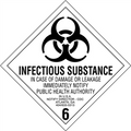 """""""Infectious Substance - 6"""" D.O.T. Hazard Labels"""