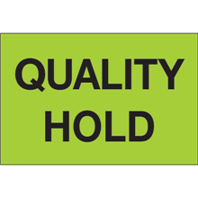 """""""Quality Hold"""" (Fluorescent Green) Pre-Printed Inventory Control Labels Roll / 500"""