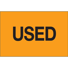 """""""Used"""" (Fluorescent Orange) Pre-Printed Inventory Control Labels"""