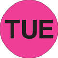 """TUE"" - Day of the Week Circle Labels Fluorescent Pink"