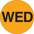 """WED"" - Day of the Week Circle Labels Fluorescent Orange"
