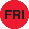"""FRI"" - Day of the Week Circle Labels Fluorescent Red"