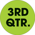 "2"" Circle - ""3RD QTR."" (Fluorescent Green) Quarter Labels"