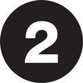 "1"" Circle - ""2"" (Black) Inventory Number Labels"