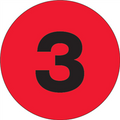 """1"""" Circle - """"3"""" (Fluorescent Red) Inventory Number Labels"""