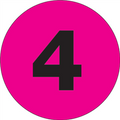 """1"""" Circle - """"4"""" (Fluorescent Pink) Number Labels"""