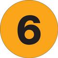 "1"" Circle - ""6"" (Fluorescent Orange) Inventory Number Labels"
