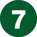"1"" Circle - ""7"" (Dark Green) Inventory Number Labels"