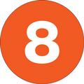 "1"" Circle - ""8"" (Orange) Inventory Number Labels"