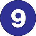 "1"" Circle - ""9"" (Dark Blue) Inventory Number Labels"