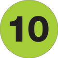 """1"""" Circle - """"10"""" (Fluorescent Green) Inventory Number Labels"""