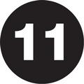 "1"" Circle - ""11"" (Black) Inventory Number Labels"